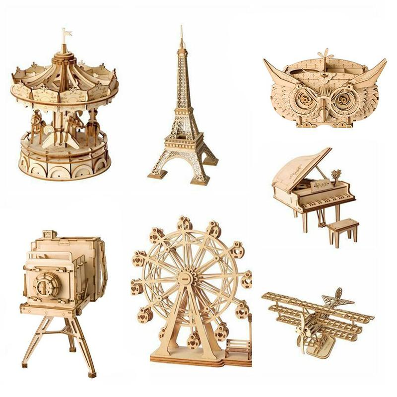 Kids DIY Toys 3D Wooden Puzzle Toys Assembly Model Toys Plane Merry Go Round Ferris Wheel Pencil Box Toys For Children Birthday