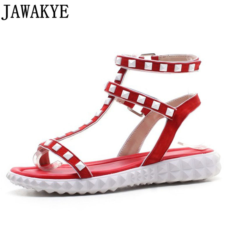 Casual gladiator sandals women platform flat heels ankle strap cross tied rivets studded genuine leather summer shoes for ladie timetang 2017 leather gladiator sandals comfort creepers platform casual shoes woman summer style mother women shoes xwd5583