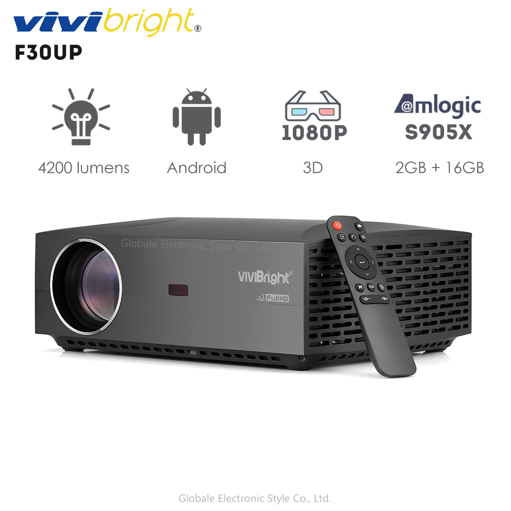 Original VIVIBRIGHT F30UP LCD Projector Android Bluetooth 4.0 1920 x 1080P Home Theater Commercial Projector FHD 4200LM 2+16GB(China)
