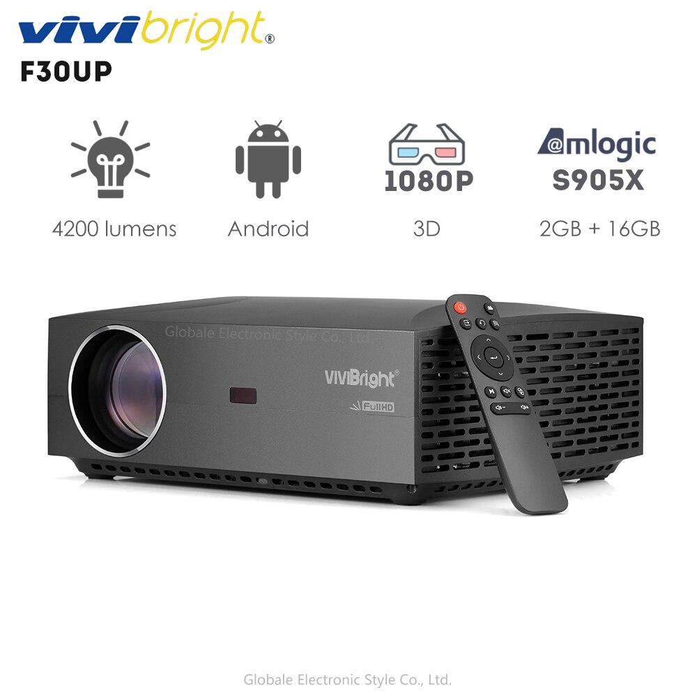 Original vivibright f30up lcd projetor android casa entretenimento comercial 1080 p fhd 4200 lumens bluetooth 4.0
