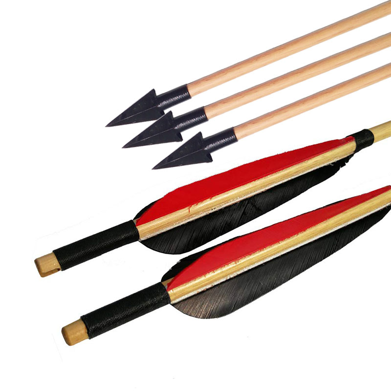 Image 3 - 6/12pcs Archery Traditional Broadheads Wooden Arrows Outdoor Bow And Arrow Hunting Shooting Practice Handmade Wood Arrow-in Bow & Arrow from Sports & Entertainment