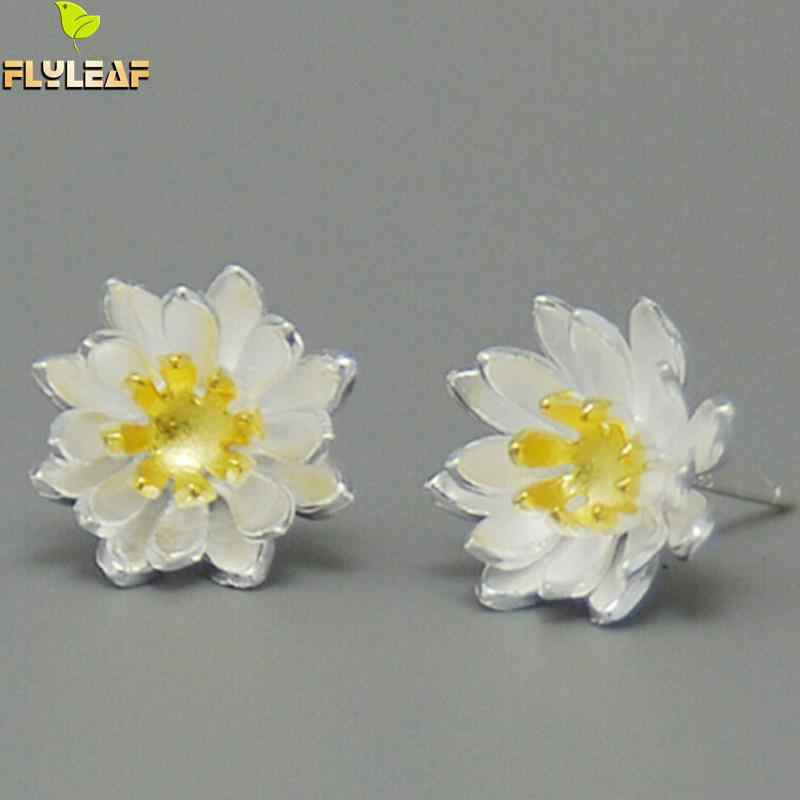Women 925 Sterling Silver Earrings CZ Floral Flower Lotus Wedding Party Elegant