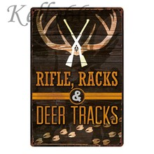 [ Kelly66 ] Refle Racks Deer Tracks hunt Metal Sign Tin Poster Home Decor Bar Wall Art Painting 20*30 CM Size y-1206(China)