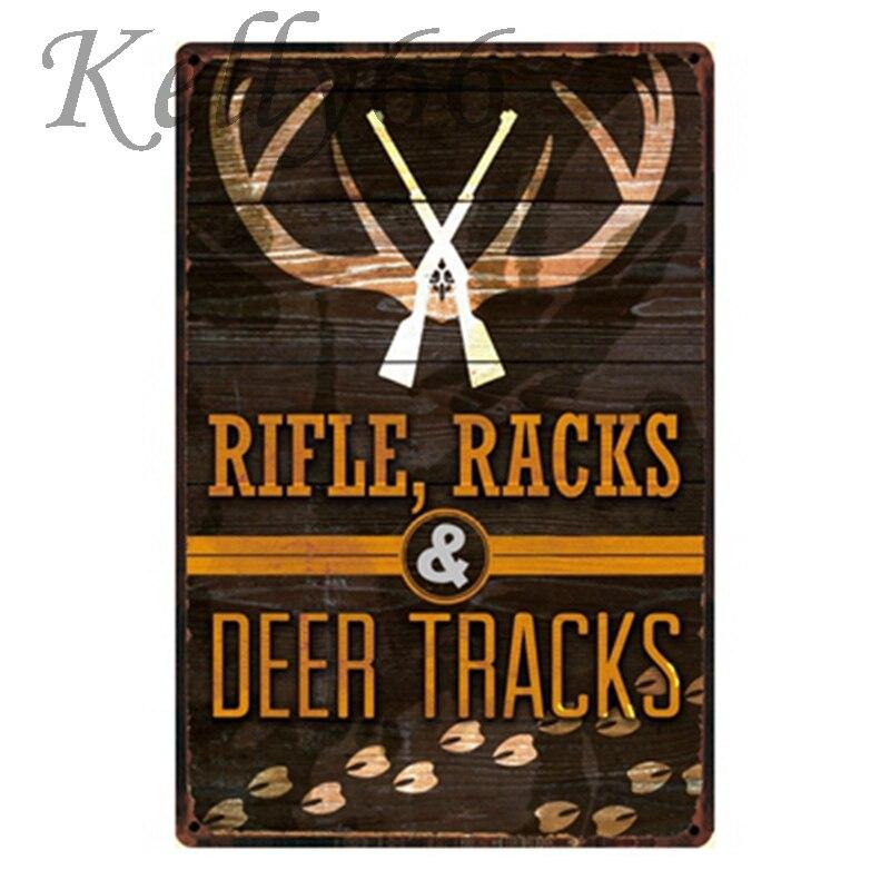 [ Kelly66 ] Refle Racks Deer Tracks hunt Metal Sign Tin Poster Home Decor Bar Wall Art Painting 20*30 CM Size y-1206