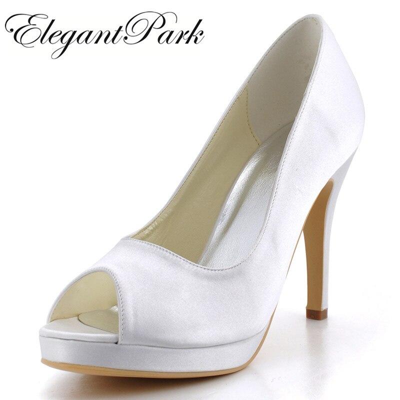 Chaussures femme EP2098-PF ivoire blanc haut talon plate-forme pompes Satin dame femmes bal de promo mariage chaussures