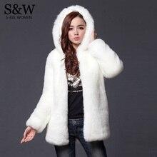 Теплое зимнее плотное меховое Женское пальто из искусственного меха средней длины с капюшоном из кроличьего меха пальто и куртки размера плюс S-3XL-5XL белый, черный