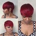Atacado cabelo humano virgem Brasileiro em linha reta 27 peças cabelo curto tecer com fechamento livre # 39J bump a cor vermelha em estoque tecer