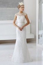 Free Shipping Expensive Trumpet Mermaid Cap Sleeve Sweep Train Sale Wedding Dresses With Heavy Beadings WX11637