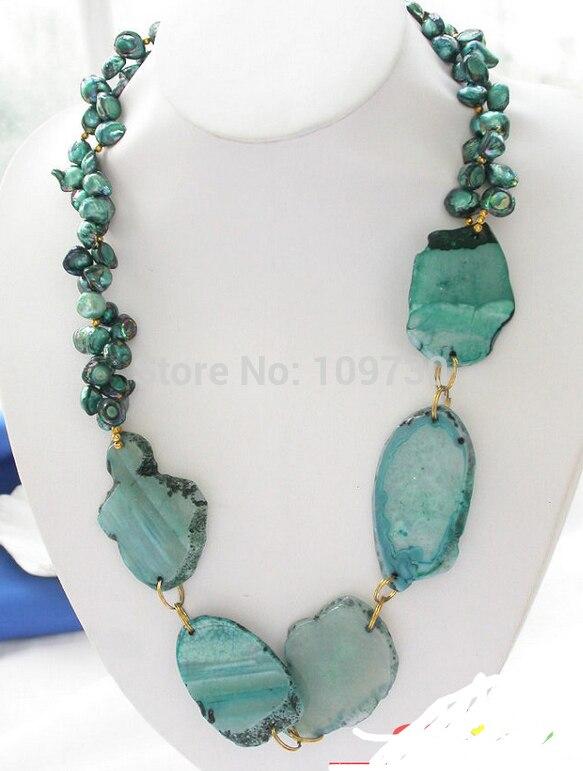 Jewelr 003371 2row vert baroque perle fluorite massive NECLACE