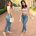 Calça Jeans de cintura alta para mulheres Plus SIze 2015 algodão Denim Jeans mulheres Pantalones vaqueiros Mujer Skinny Slim calças calças calças de brim