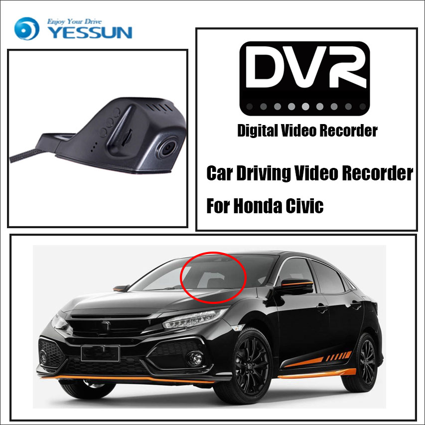 YESSUN Car Front Dash Camera CAM / DVR Driving Video Recorder For Honda Civic For iPhone Android APP Control Black Box Function for honda civic car driving video recorder dvr mini control app wifi camera black box registrator dash cam original style