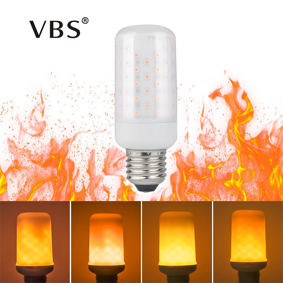 LED Flame Fire Effect Lamp Light Bulbs E27 E14 5W Magic