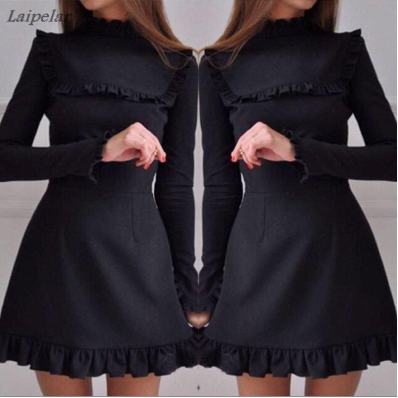 Elegante Dame Rollkragen Rüschen A-Line Kleid 2018 Frühling Sommer Frauen Mode Flare Hülse Weibliche Mini Party Kleider Vestidos