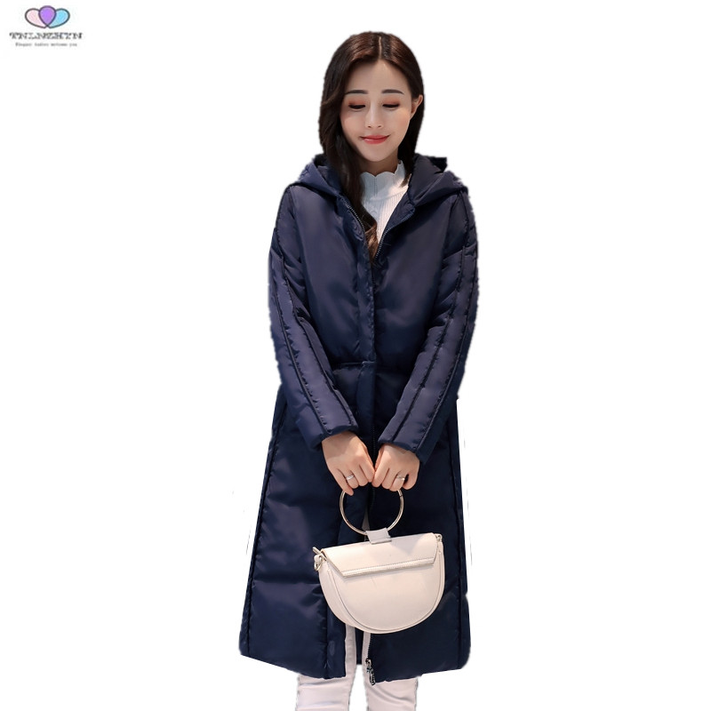 2017 New Winter Jacket Women Hooded Medium long Down Cotton Jacket Coat Fashion Warm Parkas Casual Outerwear TNLNZHYN E243 tnlnzhyn 2018women winter jacket coat thicken warmer hooded cotton down jacket high end medium long ms clothing outerwear wa890