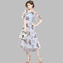 7bfce1a2b Vestidos pista Floral flor bordado Vintage Boho bordado de malla Vestidos  de mujer nueva fiesta Vestidos bordados