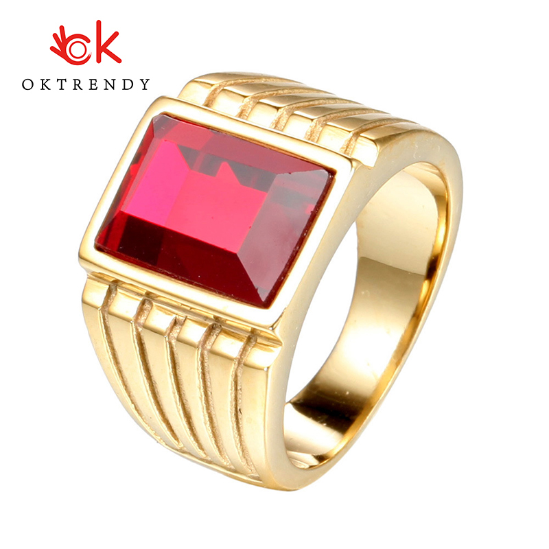 Oktrendy Big Red Stone Rings For Men Jewelry Cool Ring Party New Gothic Male