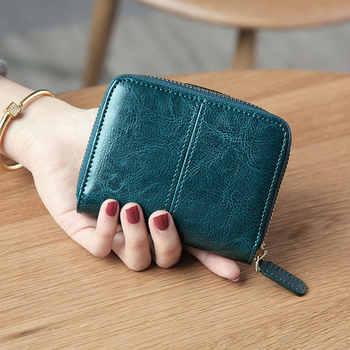 Bifold Oil Wax Genuine Leather Women Mini Clutch Wallet Soild Color Coin Pocket Purse Women Leather Card Holder Wallet Bag