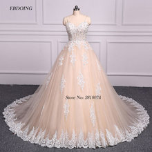 EBDOING Strapless Ball Gown Wedding Dress Chapel Train