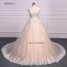 EBDOING Strapless Ball Gown Wedding Dress Chapel Train