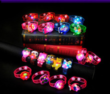 200PCS Flash LED Lighting Children Kids Bracelet Wrist Band Birthday Gift Party Decoration Cartoon Flash Luminous