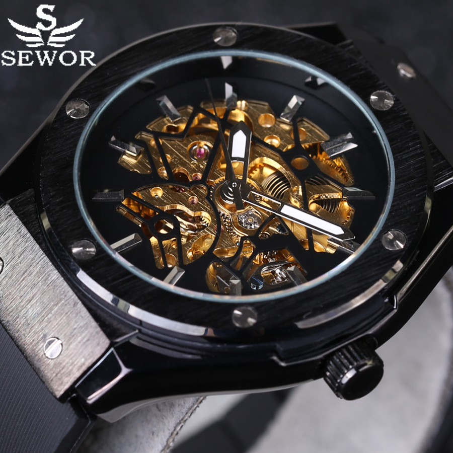 Rubber Strap SEWOR Luxury Brand Sports Men Watches Automatic Self-Wind Skeleton Watch Steampunk Casual Mechanical Wrist Watch sewor new arrival luxury brand men watches men s casual automatic mechanical watches diamonds hour stainless steel sports watch
