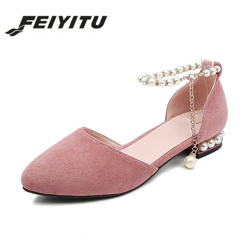 Pink Low Heel Wedding Shoes: Aliexpress.com : Buy Feiyitu Summer 2018 Lady Low Heels