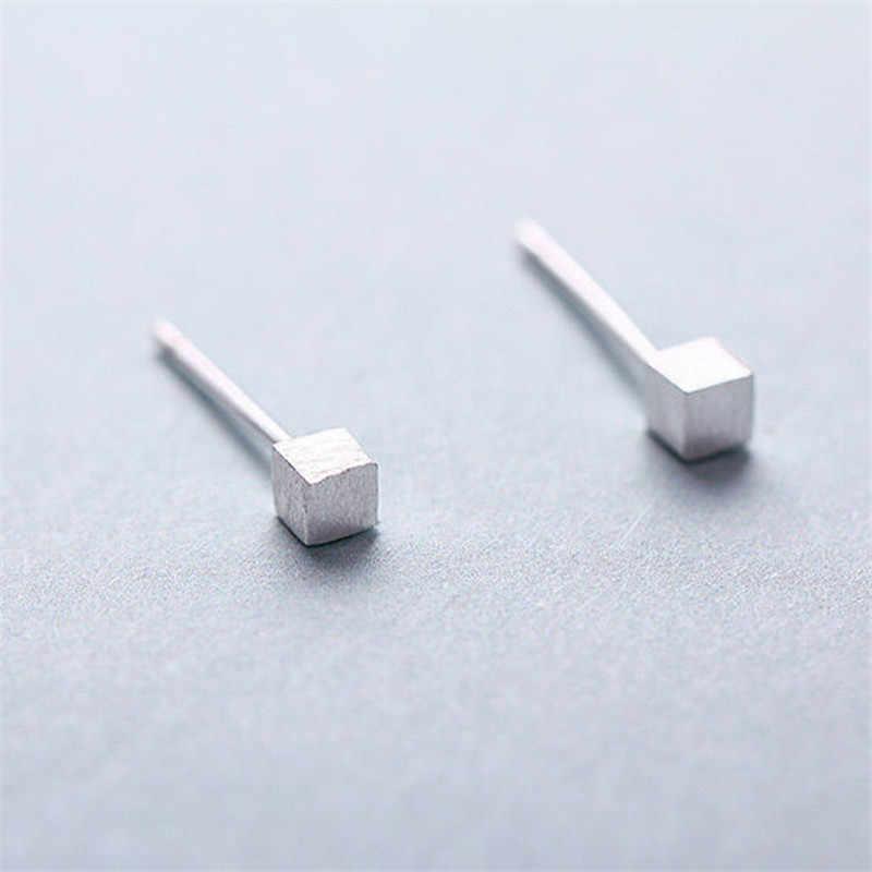100% 925 Sterling Silver Persegi Kecil Anting-Anting Anting-Anting untuk Wanita Pesta Hadiah Perhiasan Pendientes Boucle D Oreille Eh937