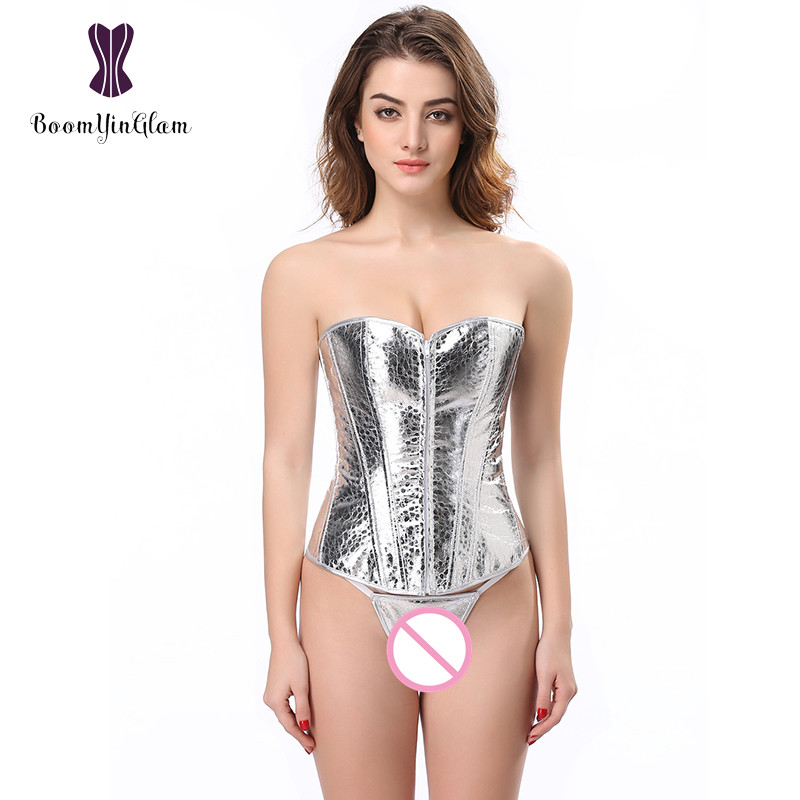 Free shipping front zip korsett women slimming waist shaper sequin lingerie   bustier   silver   corset   with g string 8561#