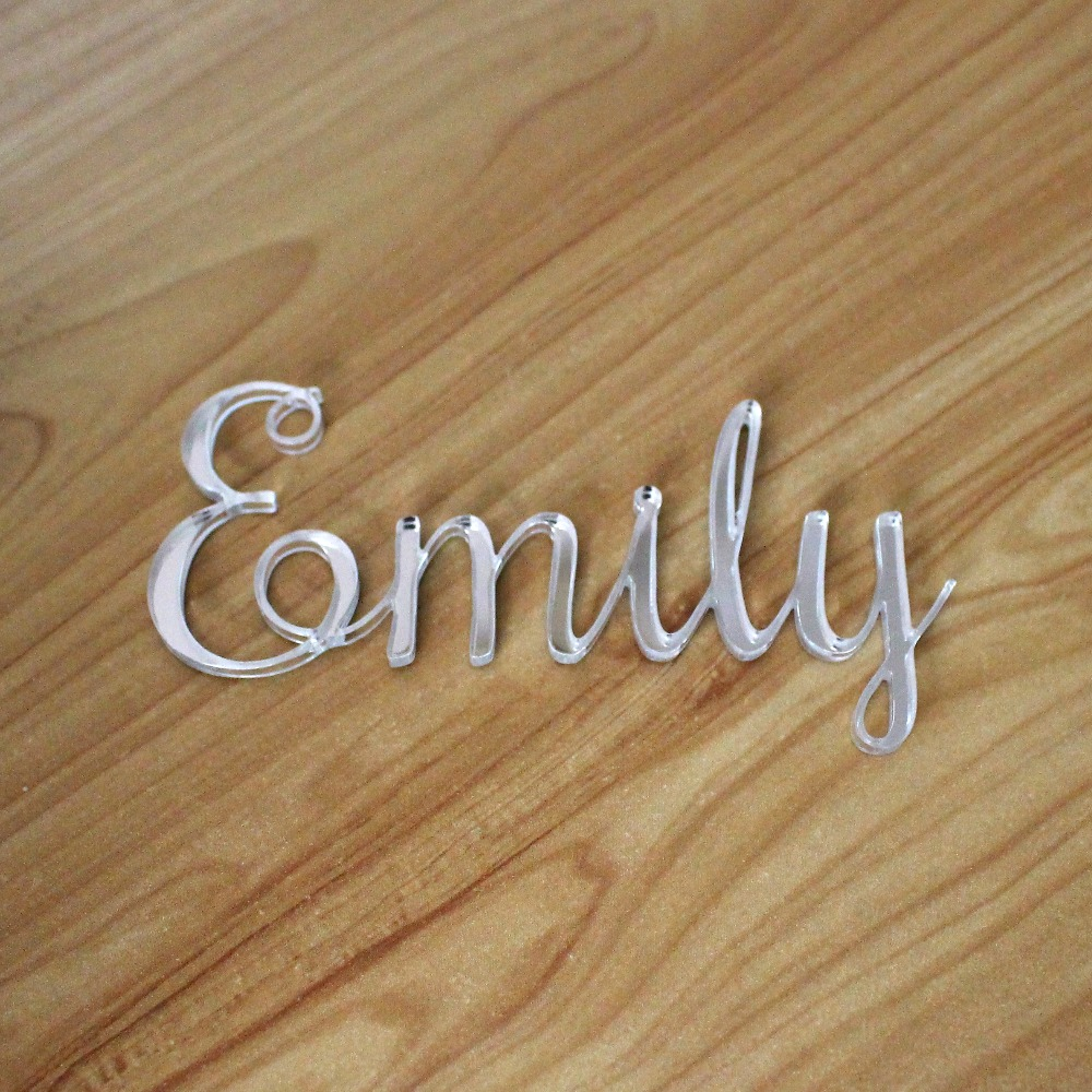 Personalized Laser Cut Place Name Setting Guest Silver Gold Mirror Acrylic Place