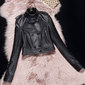Black short leather jacket women sheepskin genuine leather motorcycle clothing Spring female korea slim Button design Jacket