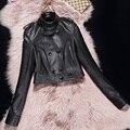 Negro corto chaqueta de cuero de las mujeres de piel de oveja genuina de cuero ropa de la motocicleta femenina Primavera corea diseño del Botón Chaqueta delgada