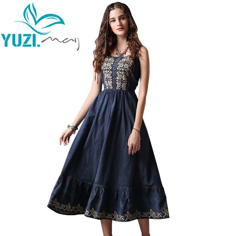 Summer Dress 2018 Yuzi may Boho New Vintage Denim Vestidos Slash Neck Sleeveless High Waist A
