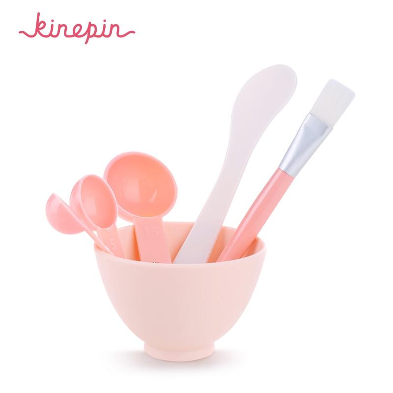 KINEPIN 4 in 1 DIY arcápoló maszk tál női kozmetikai smink eszköz kefével kevert keverék spatula Stick mérő kanál készlet