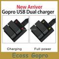 Gopro AHDBT-301 302 Dual 2 USB Cargador de Batería cargador de batería Para Gopro hero3/3 +/más Accesorios