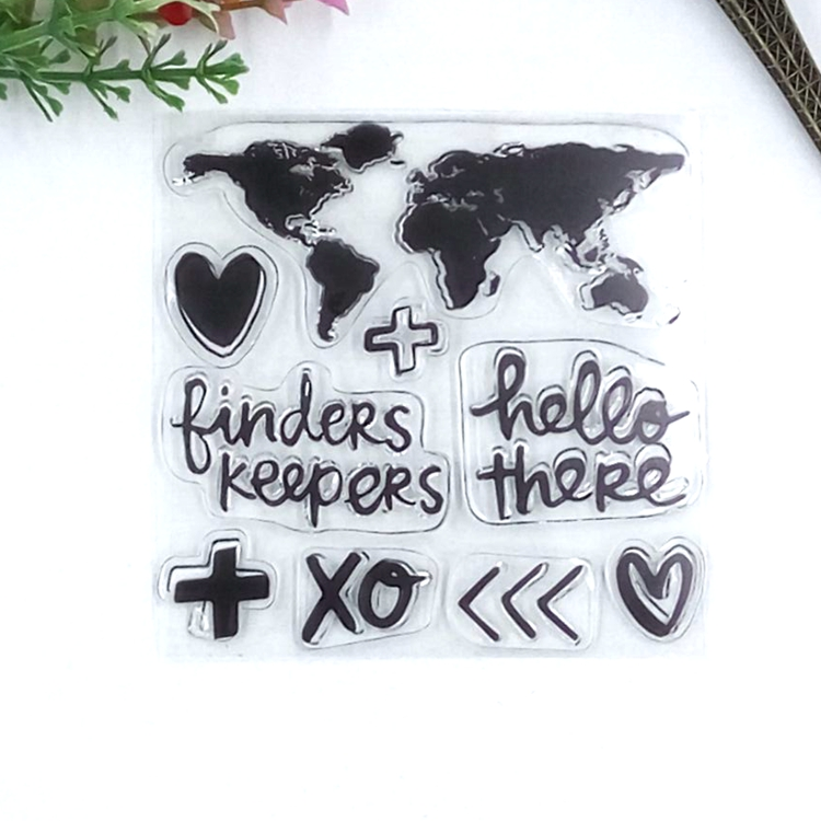 Travel Series World Map Clear Stamps Scrapbooking Card Making DIY Decoration stencil Rubber Kid Scrapbook Toy stamps Free Ship