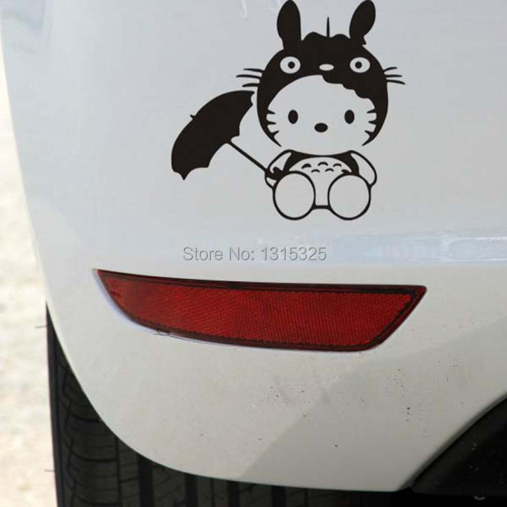Aliauto Funny Totoro Hello Kitty Car Rearview Stickers Car Decal for Toyota Chevrolet cruze VW polo golf skoda Hyundai Kia Lada