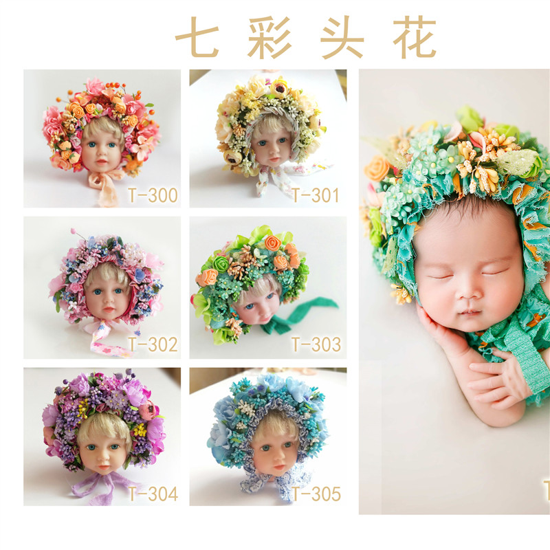 Baby Girl Cap With Multicolor Flower Creative Flower Baby Photography Prop Newborn Photo Shooting Princess Cap Hot Sell Prop
