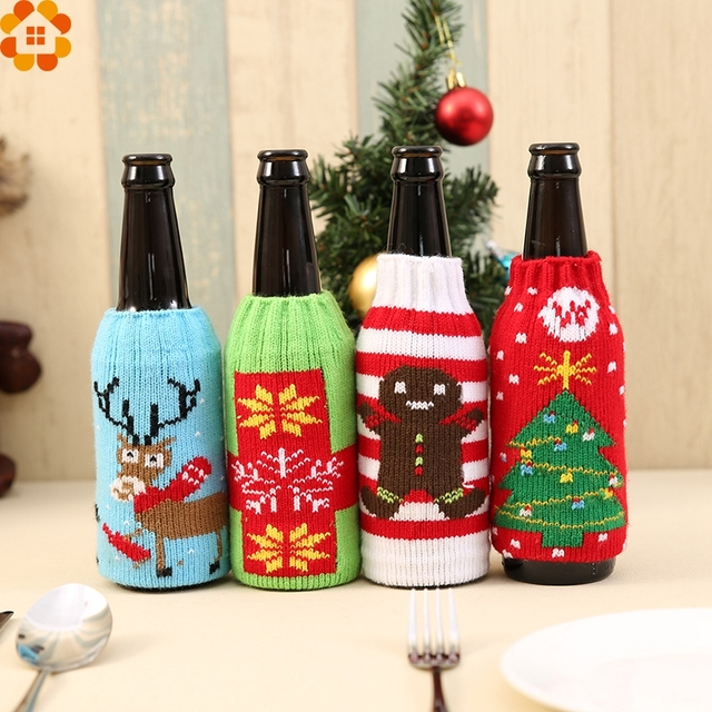 1pc cute christmas bottle sets santa claus wine bottle cover holders diy weddingbirthday - Christmas Bottle Decorations