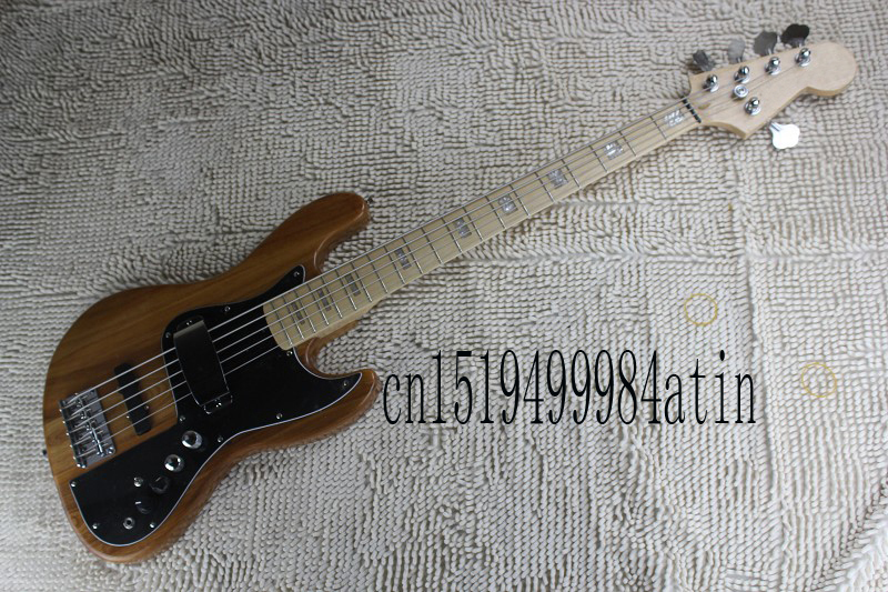 free shipping top quality jazz bass 5 string natural color active pickups 9v battery electric. Black Bedroom Furniture Sets. Home Design Ideas