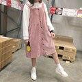 Осенью и зимой женщин новый вельвет платье студент кампуса стиль сплошной цвет свободные Средние и длинные Ремень платье