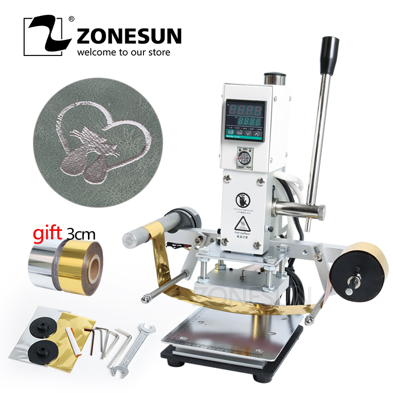 ZONESUN Digital Automatic Leather Hot Foil Stamping Machine Manual Embossing Tool 300W Creasing Wood Paper PVC Card Printer DIY
