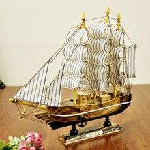 24 CM de madera maciza hotel vela home living room decoración de la boda de cumpleaños regalos de artesanía barco de madera