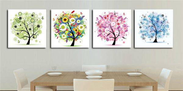 Free Shipping 4 Panels Home Decoration Abstract Art Wall Pictures Four Seasons Trees Canvas Print Prints Home Decor F/214