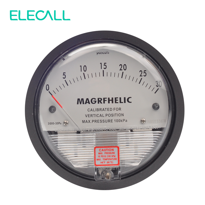 ELECALL TE2000 Micro Differential Pressure Gauge High Precision Round Type Pointer Instrument Micromanometer 0-30PA te2000 500pa 500pa micro differential pressure gauge high