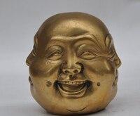 Chiński Buddyzm Miedź Mosiądz Statua Buddy Maitreya 4 Twarzy Różne Emocjonalne w Posągi i rzeźby od Dom i ogród na