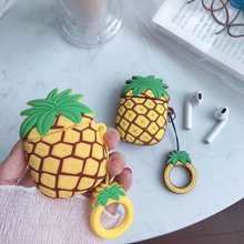 Cute Case For AirPods 2 Summer fruit pineapple silicon cover Bluetooth Earphone Cases Air pods with Finger loop