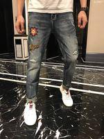 Модные Для мужчин джинсы 2019 взлетно посадочной полосы роскошь известный бренд Европейский дизайн вечерние стиль Мужская одежда WD04487