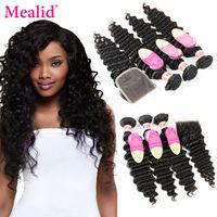 Mealid Brazilian Hair Weave Bundles Deep Weave Bundles With Closure Remy Human Hair 3 Bundles With Closure Deep Wave