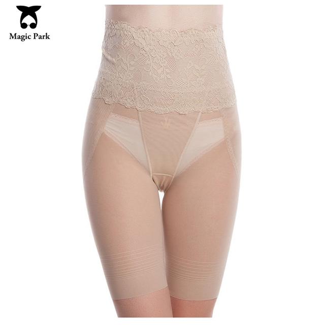 MagicPark Mesh Women Abdomen Control Panties Super Thin Transparent Lace Sexy Shapewear High Waist Thigh Shaping Panty Shapers