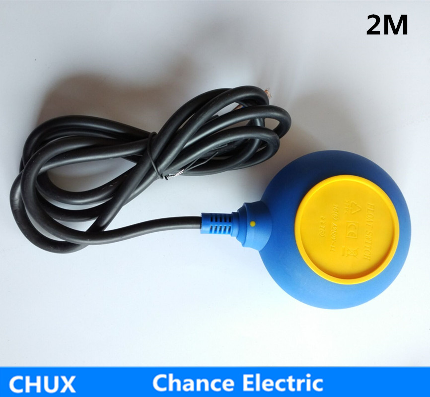 2m cable ball Float water Switch for Industry tank liquid Fluid Level Sensor yellow blue color round type (CX-M15-3) 4a 8a level float switch pp water level control for water pump water tower tank normally closed